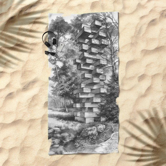 Jenga Tower Surrounded by Trees Beach Towel