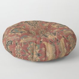 Flowery Boho Rug V // 17th Century Distressed Colorful Red Navy Blue Burlap Tan Ornate Accent Patter Floor Pillow