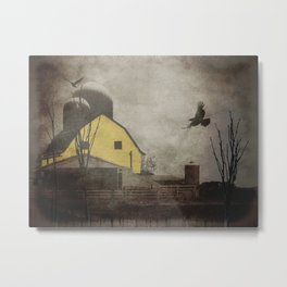 Yellow Barn on Sepia Background With Birds Flying A170 Metal Print