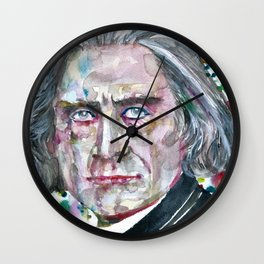 FRANZ LISTZ - watercolor portrait.1 Wall Clock