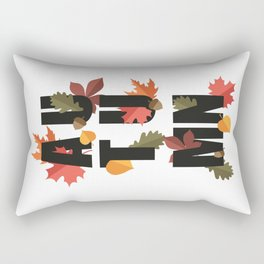 Autumn word and leaves BLACK Rectangular Pillow