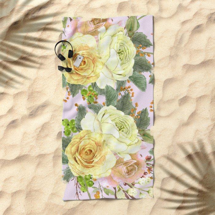 Watercolor Roses #4 Beach Towel