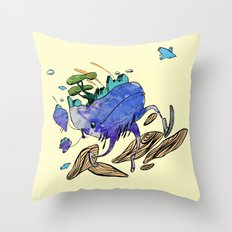 explore (blue) Throw Pillow