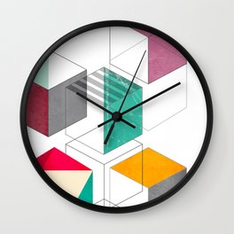 colorful cubes Wall Clock