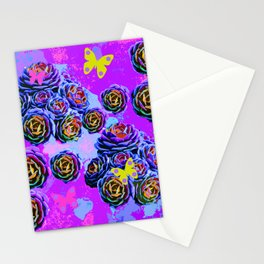 violet cactus  collage Stationery Cards