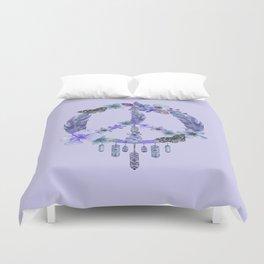 Purple Watercolor Peace Symbol Floral Dreamcatcher Duvet Cover