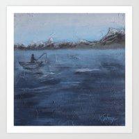 Seascape Fisherman Art Print