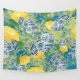 blue lemon pattern Wall Tapestry