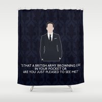 moriarty Shower Curtains featuring The Great Game - Jim Moriarty by MacGuffin Designs