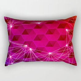 Gradient Purple Red Orange Hexagons Connected by White Nodes and Lines Rectangular Pillow