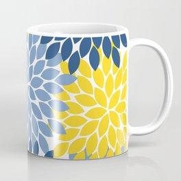 Blue Yellow Flower Burst Floral Pattern Kaffeebecher