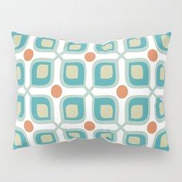 Abstract Flower Pattern Mid Century Modern Retro Turquoise Orange Pillow Sham