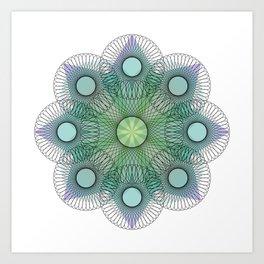 Blue & Green Mandala Line Art Art Print