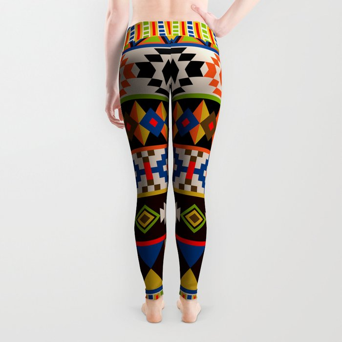 Colourful tribal Aztec patterns Leggings