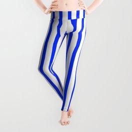 Blue & White Vertical Stripes Leggings