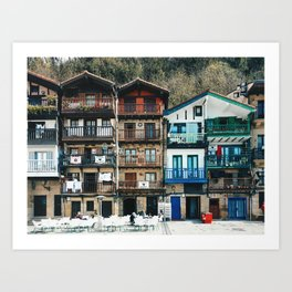 Old buildings in Donibane, Basque country - Travel photography Art Print