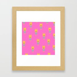 Shy Little Robot (pink) Framed Art Print