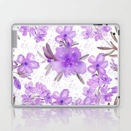 Watercolor lavender lilac brown modern floral Laptop & iPad Skin