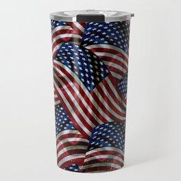 Rustic American Flags Travel Mug