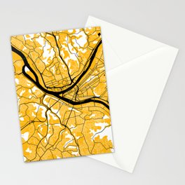 Pittsburgh Steel City Street Map Vintage Maps Black And Gold 412 Pride Stationery Cards