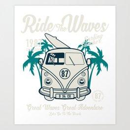 Ride The Waves California Surfing Summer Art Print