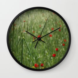 Seed Head With A Beautiful Blur of Poppies Background Wall Clock