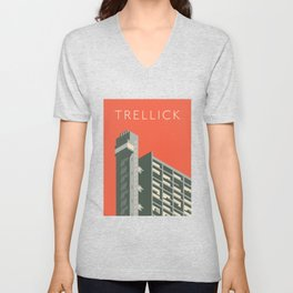 Trellick Tower London Brutalist Architecture - Text Red Unisex V-Neck