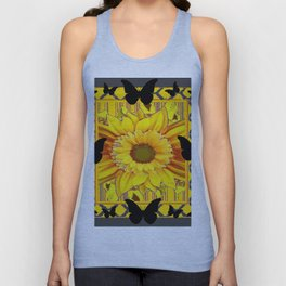 EBONY BUTTERFLIES YELLOW SUNFLOWER GREY ART Unisex Tank Top