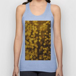 Gold Glitter Sparkle Bokeh Blurred Lights Shimmer Shiny Dots Spots Circles Out Of Focus Unisex Tank Top