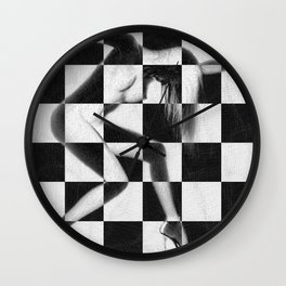 Survive Nude Woman Checkered 4 Wall Clock