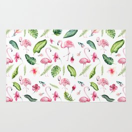 Pink green watercolor tropical hand painted flamingo Rug