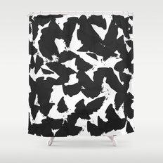 Black Bird Wings on White Shower Curtain