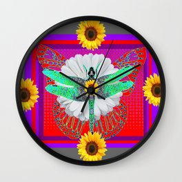 GREEN DRAGONFLY FLORAL RED & PURPLE Wall Clock