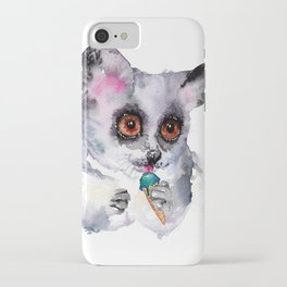 Cute watercolor bush baby with ice cream iPhone Case