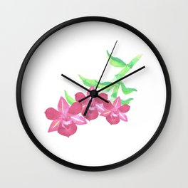 Pink orchids watercolor Wall Clock