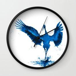 Blue Crane Wall Clock