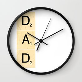 DAD - Vertical Scrabble Tile Art and Accessories for Father's Day Wall Clock