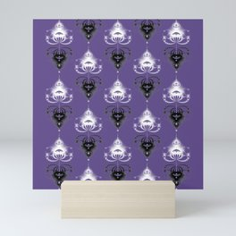 Ornament medallions - Black and white fractals on ultra violet Mini Art Print