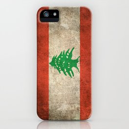 Old and Worn Distressed Vintage Flag of Lebanon iPhone Case