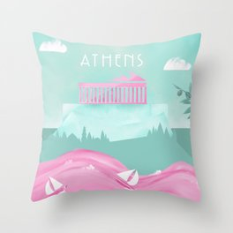 Cities in Pink - Athens Throw Pillow