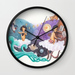 Boy Playing Piano and Attracting Girl with His Music Wall Clock
