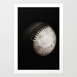 Battered Baseball in Black and White Art Print