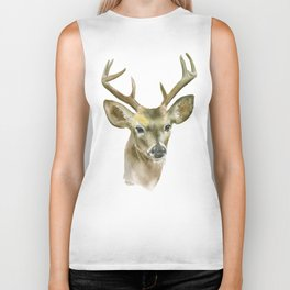 Buck Watercolor Painting Deer Fine Art Biker Tank