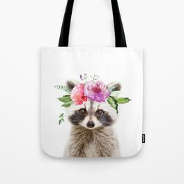 Baby Raccoon with Flower Crown Tote Bag