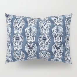 AZTEC MUERTOS Watercolor Indigo Skulls Pillow Sham