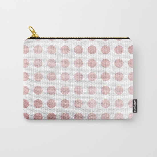 Simply Polka Dots in Rose Gold Sunset and White Carry-All Pouch