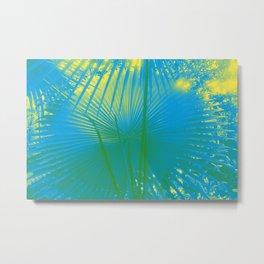 turquoise palm leaf Metal Print