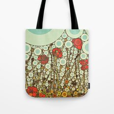 Pop Pop Poppies Abstract Red Flowers and sky with vintage pop art charm Tote Bag