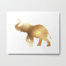 Gold Elephant Metal Print