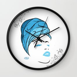 Lady Wrap (blue) Wall Clock